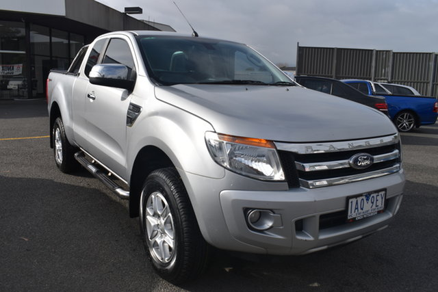 Used Ford Ranger PX XLT Super Cab 4x2 Hi-Rider Wantirna South, 2013 Ford Ranger PX XLT Super Cab 4x2 Hi-Rider Silver 6 Speed Sports Automatic Utility