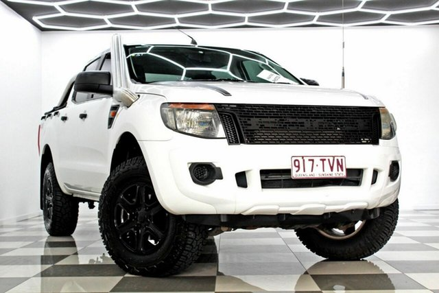 Used Ford Ranger PX XL 2.2 (4x4) Burleigh Heads, 2013 Ford Ranger PX XL 2.2 (4x4) White 6 Speed Automatic Crew Cab Utility