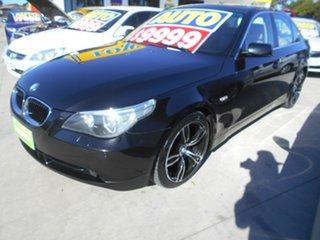 2004 BMW 5 Series E60 530i Steptronic Black 6 Speed Sports Automatic Sedan.