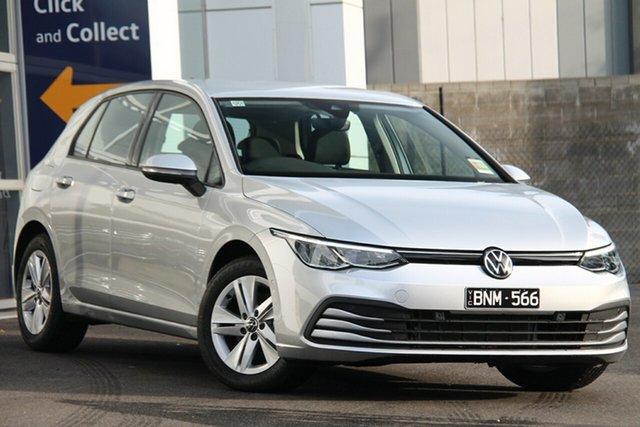 Demo Volkswagen Golf 8 MY21 110TSI Port Melbourne, 2021 Volkswagen Golf 8 MY21 110TSI Silver 6 Speed Manual Hatchback