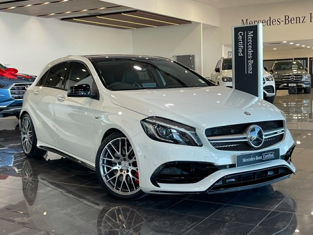 Used Mercedes-Benz A-Class W176 806MY A45 AMG SPEEDSHIFT DCT 4MATIC Hervey Bay, 2016 Mercedes-Benz A-Class W176 806MY A45 AMG SPEEDSHIFT DCT 4MATIC White 7 Speed