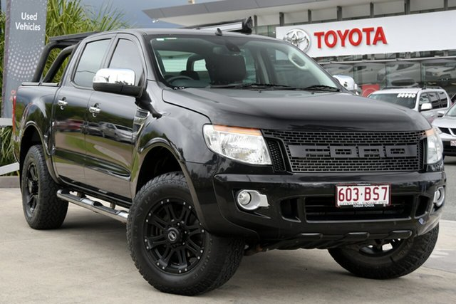 Pre-Owned Ford Ranger PX XLT Double Cab North Lakes, 2014 Ford Ranger PX XLT Double Cab Black 6 Speed Manual Utility