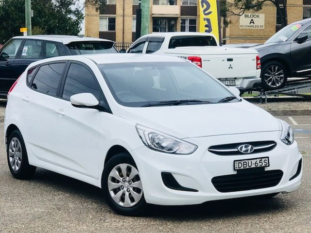Used Hyundai Accent RB3 MY16 Active Liverpool, 2015 Hyundai Accent RB3 MY16 Active White 6 Speed Constant Variable Hatchback