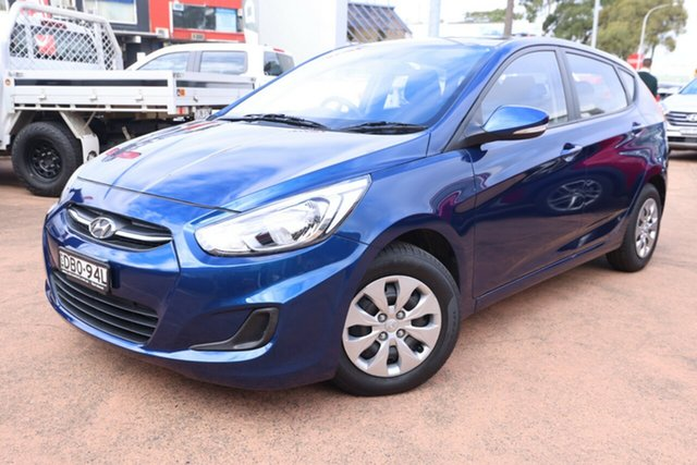 Used Hyundai Accent RB3 MY16 Active Brookvale, 2015 Hyundai Accent RB3 MY16 Active Blue 6 Speed CVT Auto Sequential Hatchback