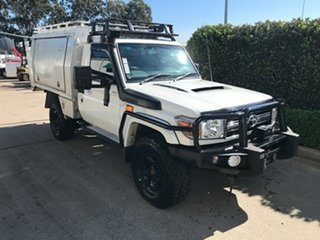 2014 Toyota Landcruiser VDJ79R MY13 GXL White 5 speed Manual Cab Chassis.