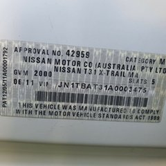 2011 Nissan X-Trail T31 Series IV ST 2WD White 1 Speed Constant Variable Wagon