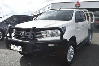 2017 Toyota Hilux GUN126R SR Double Cab White 6 Speed Manual Cab Chassis.