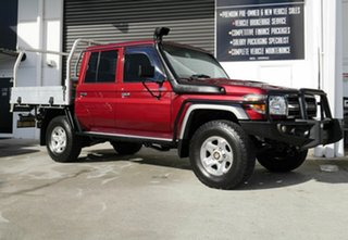 2016 Toyota Landcruiser VDJ79R GXL Double Cab Red 5 Speed Manual Cab Chassis.