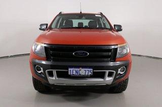 2014 Ford Ranger PX Wildtrak 3.2 (4x4) Orange 6 Speed Automatic Crew Cab Utility.