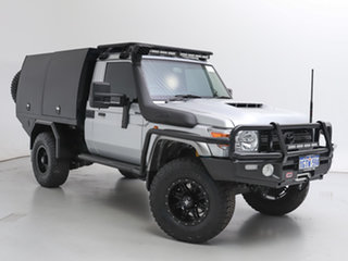 2019 Toyota Landcruiser VDJ79R GXL (4x4) Silver, Chrome 5 Speed Manual Cab Chassis.