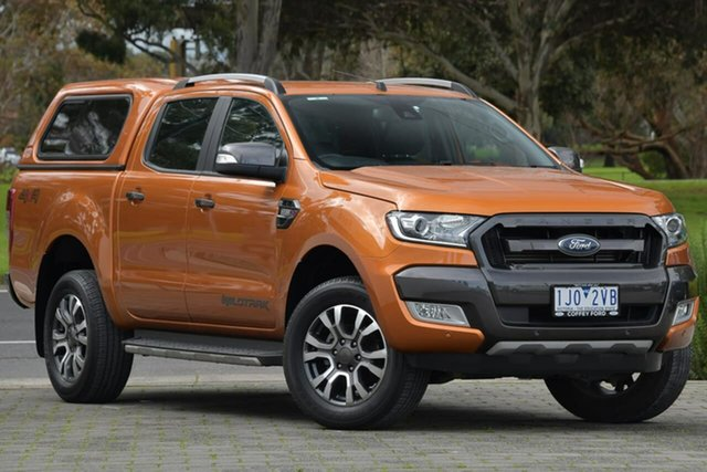 Used Ford Ranger PX MkII Wildtrak Double Cab Dandenong, 2017 Ford Ranger PX MkII Wildtrak Double Cab Orange 6 Speed Sports Automatic Utility