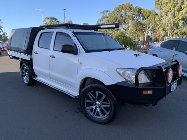 Used Toyota Hilux KUN26R MY12 SR Double Cab Bunbury, 2011 Toyota Hilux KUN26R MY12 SR Double Cab White 5 Speed Manual Cab Chassis
