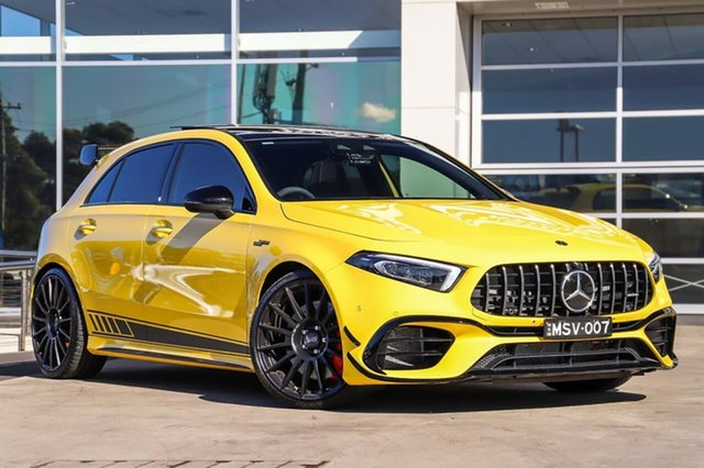 Used Mercedes-Benz A-Class W177 800MY A45 AMG SPEEDSHIFT DCT 4MATIC+ S Liverpool, 2019 Mercedes-Benz A-Class W177 800MY A45 AMG SPEEDSHIFT DCT 4MATIC+ S Sun Yellow 8 Speed