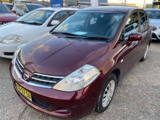 2010 Nissan Tiida C11 MY07 ST Burgundy 4 Speed Automatic Sedan.