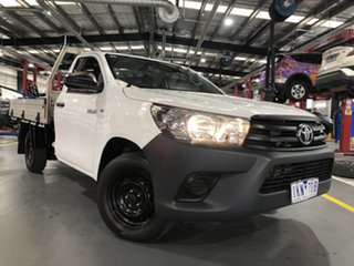 2017 Toyota Hilux TGN121R Workmate 4x2 Glacier White 6 Speed Sports Automatic Cab Chassis.