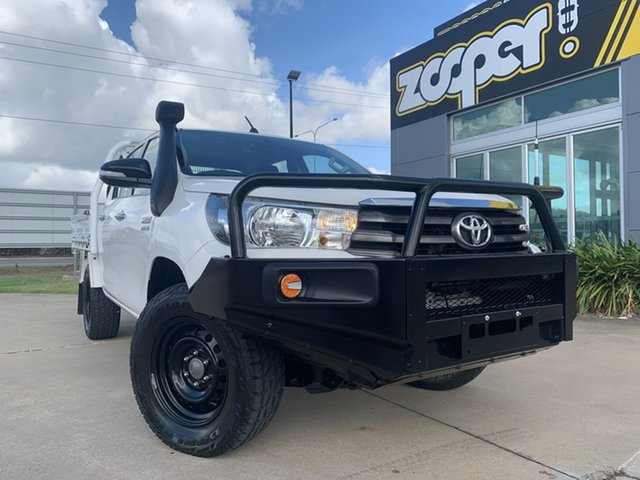 Used Toyota Hilux GUN126R SR Double Cab Townsville, 2017 Toyota Hilux GUN126R SR Double Cab White/250517 6 Speed Sports Automatic Cab Chassis