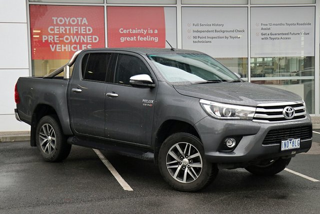 Pre-Owned Toyota Hilux GUN126R SR5 Double Cab South Morang, 2018 Toyota Hilux GUN126R SR5 Double Cab Grey 6 Speed Sports Automatic Utility