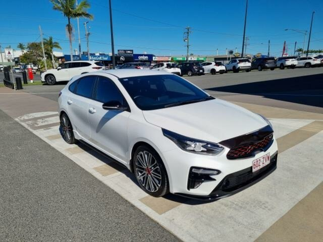 Pre-Owned Kia Cerato BD MY20 GT Safety Pack Gladstone, 2019 Kia Cerato BD MY20 GT Safety Pack White 7 Speed Auto Dual Clutch Hatchback