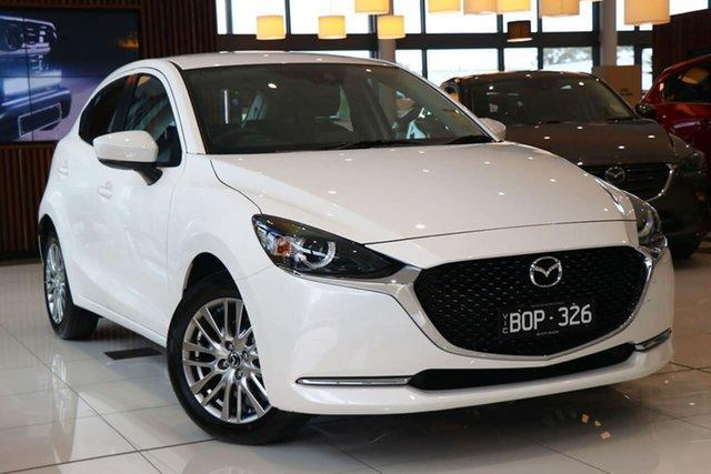 Demo Mazda 2 DJ2HAA G15 SKYACTIV-Drive Evolve South Melbourne, 2021 Mazda 2 DJ2HAA G15 SKYACTIV-Drive Evolve Snowflake White 6 Speed Sports Automatic Hatchback