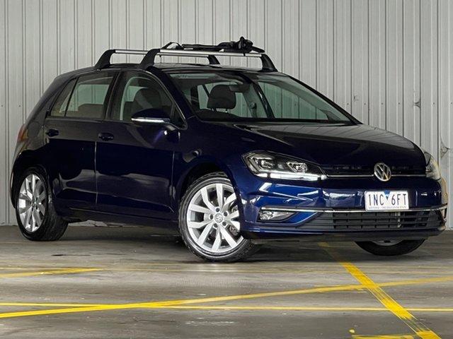 Used Volkswagen Golf 7.5 MY18 110TSI DSG Highline Moorabbin, 2018 Volkswagen Golf 7.5 MY18 110TSI DSG Highline Blue 7 Speed Sports Automatic Dual Clutch
