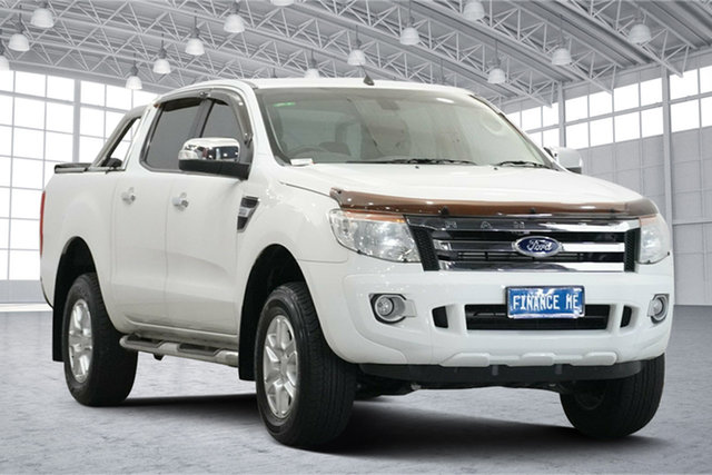Used Ford Ranger PX XLT Double Cab Victoria Park, 2013 Ford Ranger PX XLT Double Cab White 6 Speed Manual Utility