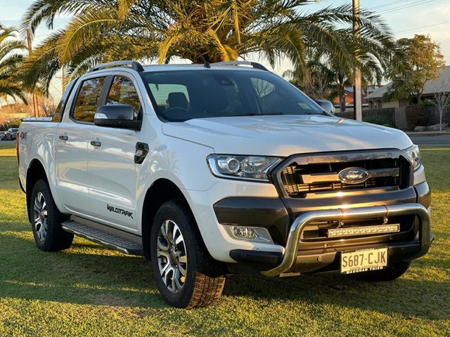 Used Ford Ranger PX MkII Wildtrak Double Cab Cheltenham, 2015 Ford Ranger PX MkII Wildtrak Double Cab Cool White 6 Speed Sports Automatic Utility