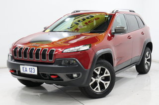 2014 Jeep Cherokee KL Trailhawk (4x4) Red 9 Speed Automatic Wagon.
