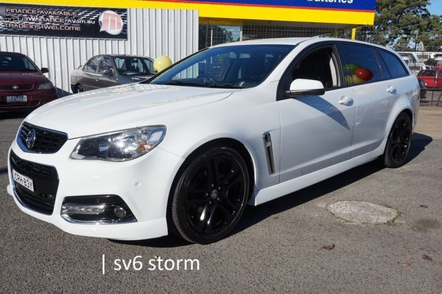 Used Holden Commodore VF MY14 SV6 Sportwagon Storm Dandenong, 2014 Holden Commodore VF MY14 SV6 Sportwagon Storm Heron White 6 Speed Sports Automatic Wagon
