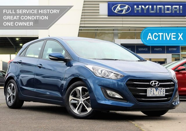 Used Hyundai i30 GD3 Series II MY16 Active X South Melbourne, 2015 Hyundai i30 GD3 Series II MY16 Active X Dazzling Blue 6 Speed Sports Automatic Hatchback
