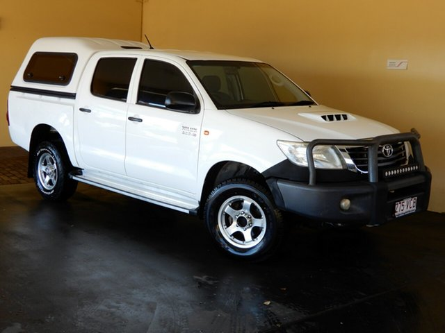 Used Toyota Hilux KUN26R MY12 SR (4x4) Toowoomba, 2012 Toyota Hilux KUN26R MY12 SR (4x4) White 5 Speed Manual Dual Cab Chassis
