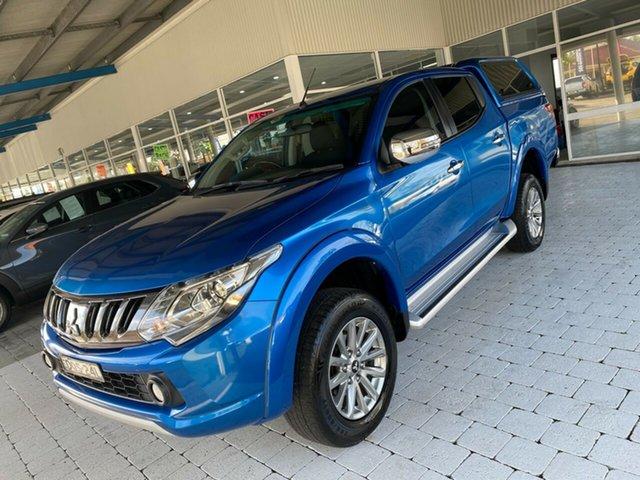 Used Mitsubishi Triton GLS Taree, 2017 Mitsubishi Triton GLS Blue Sports Automatic Dual Cab Utility
