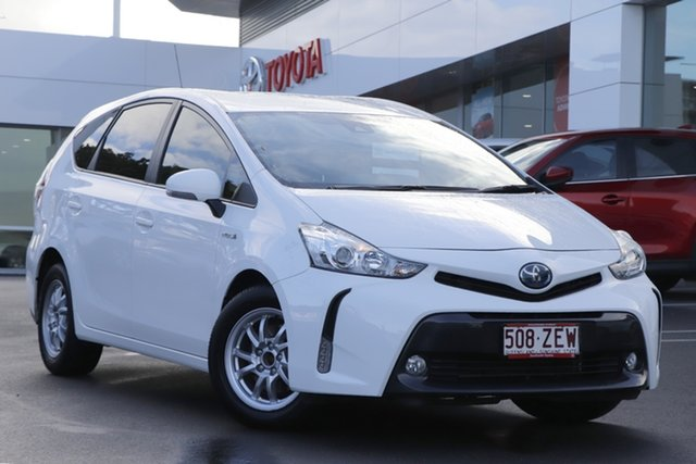 Pre-Owned Toyota Prius v ZVW40R Woolloongabba, 2019 Toyota Prius v ZVW40R White 1 Speed Constant Variable Wagon Hybrid