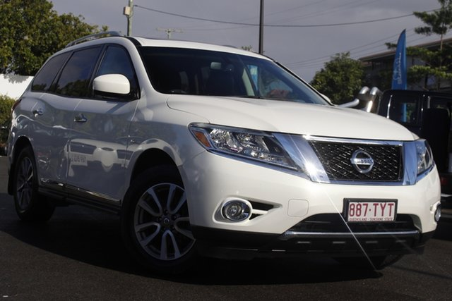 Used Nissan Pathfinder R52 MY14 ST-L X-tronic 4WD Mount Gravatt, 2014 Nissan Pathfinder R52 MY14 ST-L X-tronic 4WD White 1 Speed Constant Variable Wagon