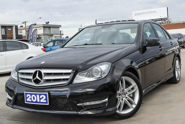 Used Mercedes-Benz C-Class W204 MY13 C200 BlueEFFICIENCY 7G-Tronic + Coburg North, 2012 Mercedes-Benz C-Class W204 MY13 C200 BlueEFFICIENCY 7G-Tronic + Black 7 Speed Sports Automatic