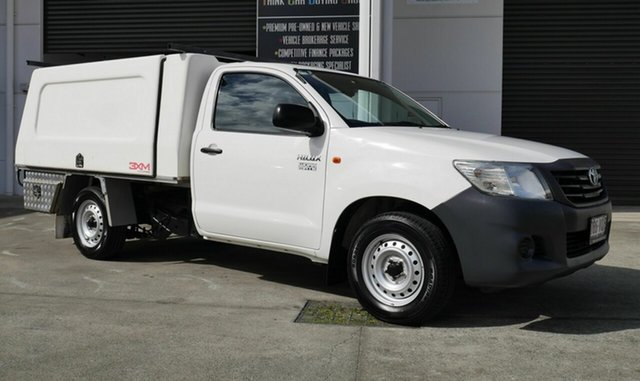 Used Toyota Hilux TGN16R MY14 Workmate 4x2 Capalaba, 2015 Toyota Hilux TGN16R MY14 Workmate 4x2 White 5 Speed Manual Cab Chassis