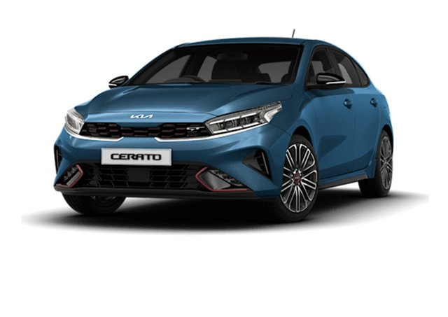 Demo Kia Cerato BD MY22 GT DCT Cardiff, 2021 Kia Cerato BD MY22 GT DCT Mineral Blue 7 Speed Sports Automatic Dual Clutch Hatchback