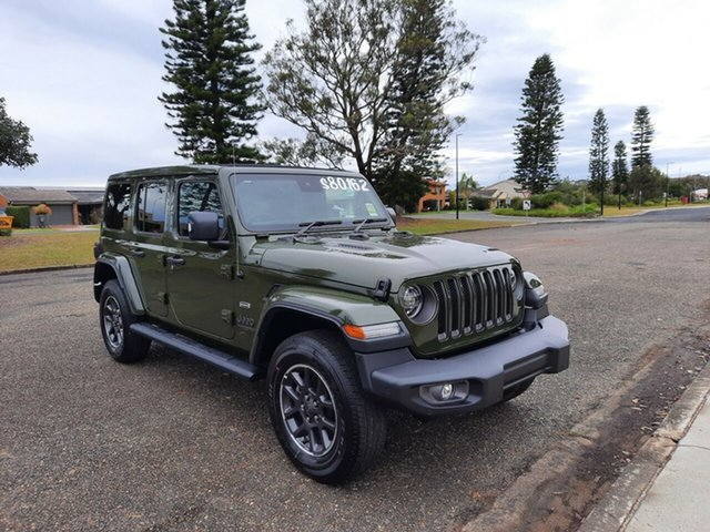 Demo Jeep Wrangler JL MY21 Unlimited 80th Anniversary Port Macquarie, 2021 Jeep Wrangler JL MY21 Unlimited 80th Anniversary Sarge Green 8 Speed Automatic Convertible