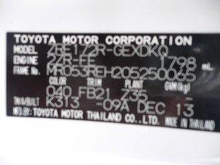 2013 Toyota Corolla ZRE152R Ascent White 4 Speed Automatic Sedan