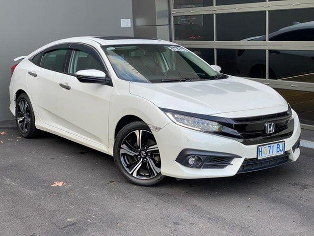 Used Honda Civic 10th Gen MY17 RS Hobart, 2017 Honda Civic 10th Gen MY17 RS White 1 Speed Constant Variable Sedan