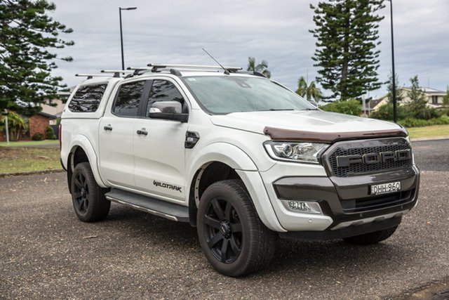 Used Ford Ranger PX MkII Wildtrak Double Cab Port Macquarie, 2016 Ford Ranger PX MkII Wildtrak Double Cab White 6 Speed Sports Automatic Utility