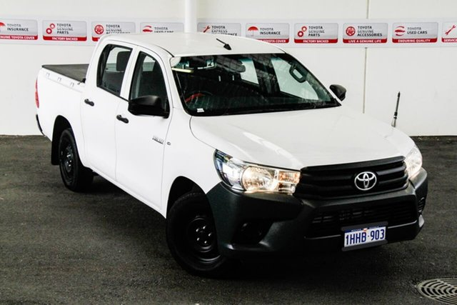 Pre-Owned Toyota Hilux TGN121R Workmate Myaree, 2016 Toyota Hilux TGN121R Workmate Glacier White 6 Speed Automatic Dual Cab Utility