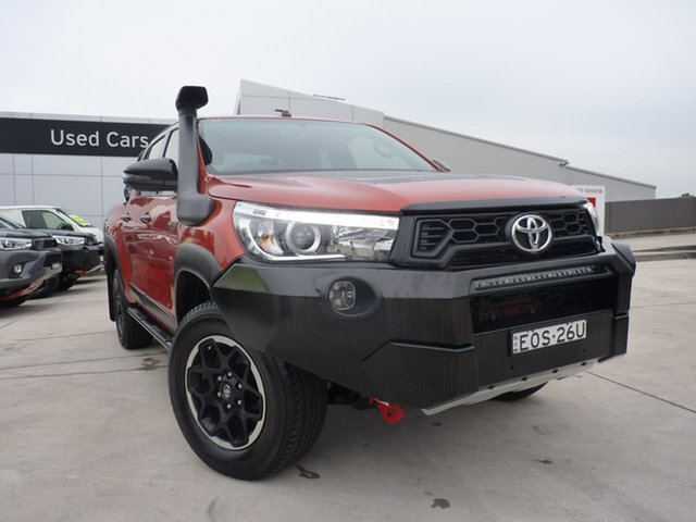 Pre-Owned Toyota Hilux GUN126R Rugged X Double Cab Blacktown, 2018 Toyota Hilux GUN126R Rugged X Double Cab Orange 6 Speed Sports Automatic Utility