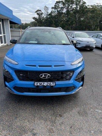 Demo Hyundai Kona Os.v4 MY21 N-Line D-CT AWD Premium North Gosford, 2020 Hyundai Kona Os.v4 MY21 N-Line D-CT AWD Premium Surfy Blue & Black Roof 7 Speed