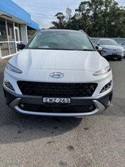 2020 Hyundai Kona Os.v4 MY21 Highlander 2WD Atlas White & Black Roof 8 Speed Constant Variable Wagon.