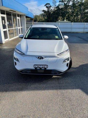 Demo Hyundai Kona OSEV.2 MY20 electric Elite North Gosford, 2020 Hyundai Kona OSEV.2 MY20 electric Elite Chalk White 1 Speed Reduction Gear Wagon