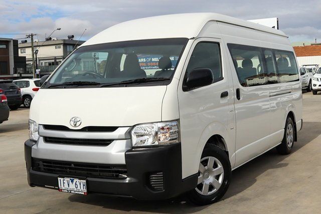 Used Toyota HiAce TRH223R Commuter High Roof Super LWB Coburg North, 2015 Toyota HiAce TRH223R Commuter High Roof Super LWB White 6 Speed Automatic Bus