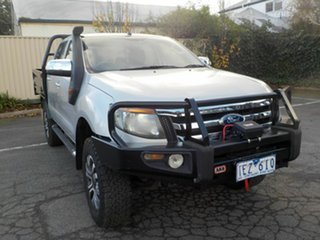 2012 Ford Ranger PX XL 3.2 (4x4) Silver 6 Speed Manual Dual Cab Chassis.