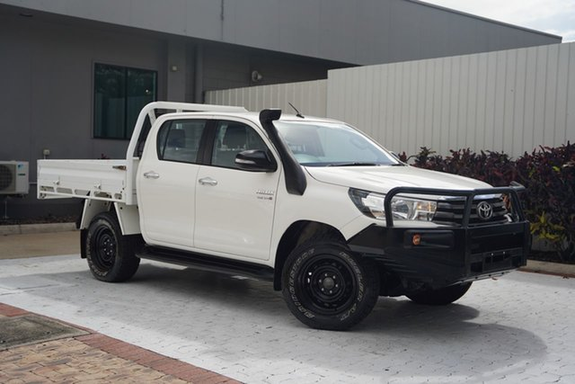 Used Toyota Hilux GUN126R SR Double Cab Cairns, 2017 Toyota Hilux GUN126R SR Double Cab White 6 Speed Sports Automatic Cab Chassis