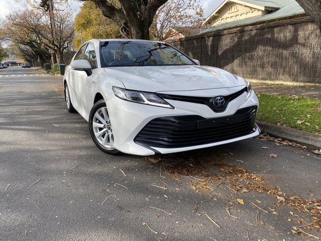 Pre-Owned Toyota Camry AXVH71R Ascent Hawthorn, 2018 Toyota Camry AXVH71R Ascent White 6 Speed Constant Variable Sedan Hybrid