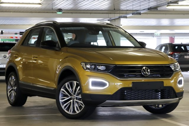 Demo Volkswagen T-ROC A1 MY21 110TSI Style Indooroopilly, 2021 Volkswagen T-ROC A1 MY21 110TSI Style Tumeric Yellow 8 Speed Sports Automatic Wagon
